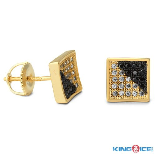 King Ice Black and White Ice Urban Earrings
