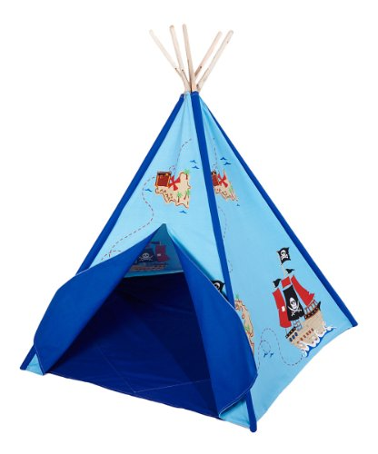 Children`S Canvas Teepee Tent Pirate Treasure Map Print Blue Trim 72 In.
