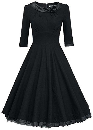 MUXXN Ladys 1950s Rockabillty 3/4 Sleeve Swing Vintage Dress (L, Black)