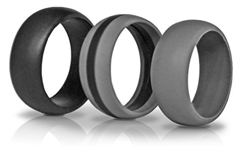 3 Silicone Wedding Ring Silicone Wedding Band for Men Crossfit Climbing and Outdoors (Grey Stripe, 10 (20.64mm inner diam))