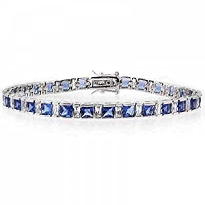 Sterling Silver Square Simulated Tanzanite CZ and Simulated Diamond CZ Tennis Bracelet