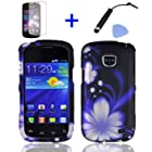 4 items Combo: Mini Stylus Pen + LCD Screen Protector Film + Case Opener + Black Blue Flower Water Design Rubberized Snap on Hard Shell Cover Faceplate Skin Phone Case for Straight Talk Samsung Galaxy Proclaim 720C SCH-S720C / Verizon Samsung Illusion i110