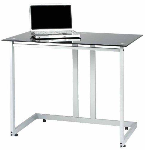 Zyon ZB600 Contemporary Black Glass  &  Aluminium Computer PC Office Workstation Desk