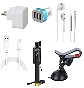 13Tech 1 Amp Charger+1.5 mtr Copper (Data Transfer+Charging) Cable +Universal Handsfree 3.5 mm Jack Headphones+3 Jack Car Charger+Selfie Stick (Aux)+Mobile Holder for Samsung Galaxy J3