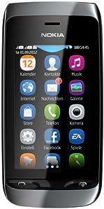 Nokia Asha 308 Dual-SIM Smartphone (7,6 cm (3 Zoll) Touchscreen, 2 Megapixel Kamera) schwarz