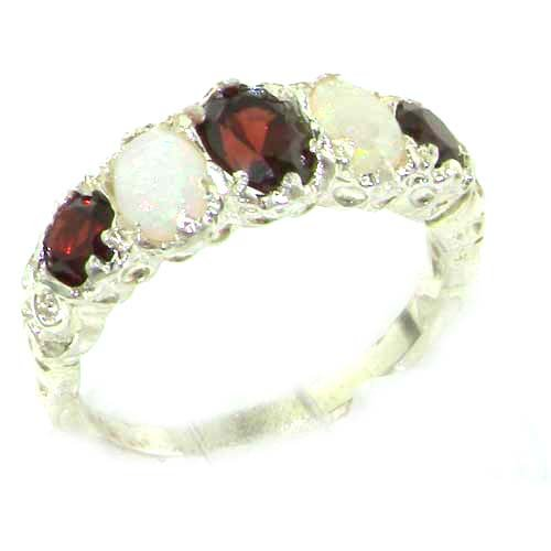 High Quality Solid Sterling Silver Natural Garnet  &  Opal English Victorian Ring - Size L - Finger Sizes L to Z Available - Suitable as an Anniversary, Engagement or Eternity ring