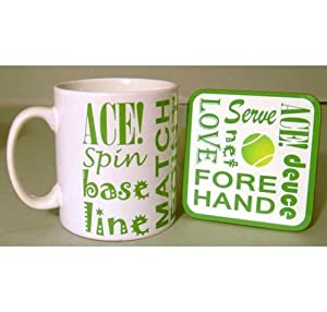 Tennis Text Mug and Coaster Set from Sporting Figures