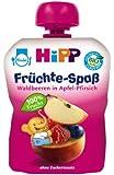 Hipp Früchte-Spaß Waldbeeren in Apfel-Pfirsich, 6er Pack (6 x 90 g) - Bio