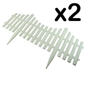 White Plastic Picket Fence - Garden Border Flowerbed Fencing (Pack of 2)