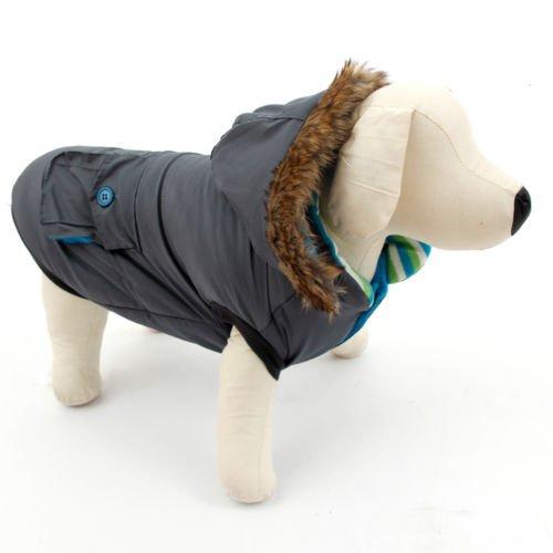 PAWZ Road Hunde Daunenjacke Haustier Weste Veste Wattejacke Warmer Mantel Winterjacke mit Hut Grau 40
