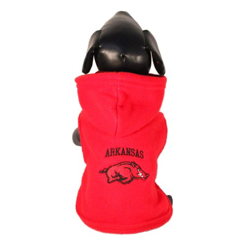NCAA Arkansas Razorbacks Polar Fleece Hooded Dog Jacket, Small at Amazon.com