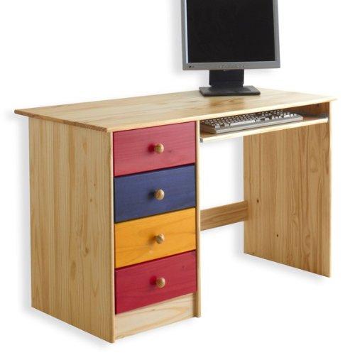 Schreibtisch MALTE, Kiefer massiv, bunt online kaufen