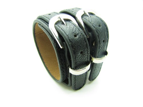 Black Soft Leather Bracelet Cuff Double Buckle Mens Bracelst Women Bracelet Unisex Bracelet Fashion Bracelet S-3