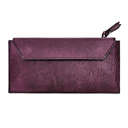 ZLYC Handmade Dip Dye Leather Long Card Organizer Wallet with Removable Card Holder, Purple