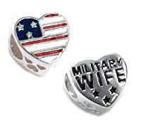 Queenberry Sterling Silver Military Wife Heart With Love Patriotic Usa Flag Blue Red White Enamel Bead For Pandora Troll Chamilia Biagi European Charm Bracelets by Queenberry