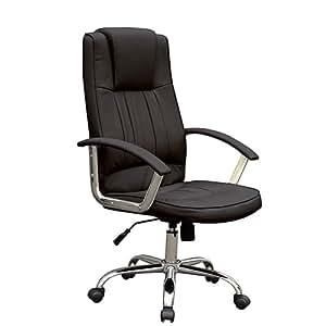 Chaise de bureau - Noir - simili cuir - hauteur ajustable - inclinable - DIVERSES COULEURS AU CHOIX