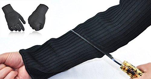 (真心店オリジナル) 防刃グローブ 防刃スリーブ サポーター 防刃手袋 両手 両腕 セット 作業用グローブ 高強度ポリエチレン繊維 SA-43