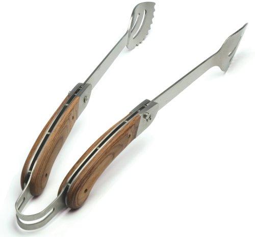 Charcoal Companion CC1103 Explorer Folding Handle Tongs