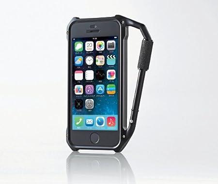 ELECOM iPhone5 5s用カラビナバンパーケース ブラック 保護フィルム付 PS-A12ALBKBK