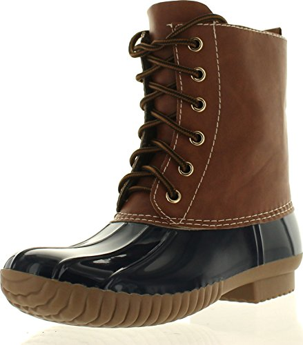 axny-dylan-womens-lace-up-two-tone-combat-style-calf-rain-duck-boots-colornavy-size75