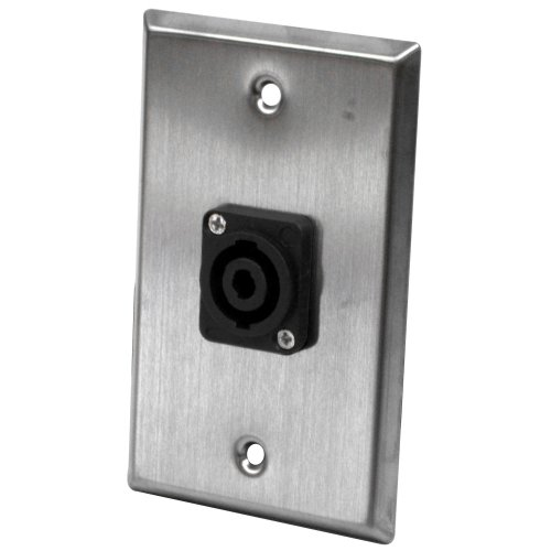 Seismic Audio Sa-Plate27 Stainless Steel Wall Plate With 4 Pole Speakon Connector- Stainless Steel Wall Plate