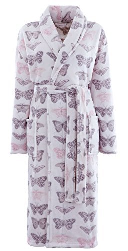 BUTTERFLY PINK GREY SUPER SOFT FLEECE BATH ROBE DRESSING GOWN WITH WAIST BELT