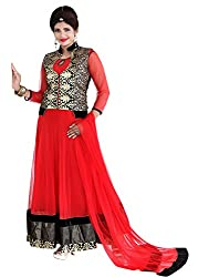 Regalia Ethnic New Collection Red And Black Net Embroidered Semistitched Dress Material With Matching Dupatta