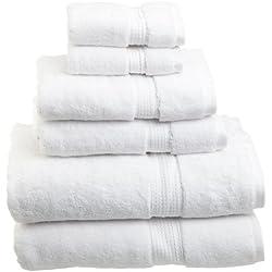 Superior 900 Gram Egyptian Cotton 6-Piece Towel Set, White