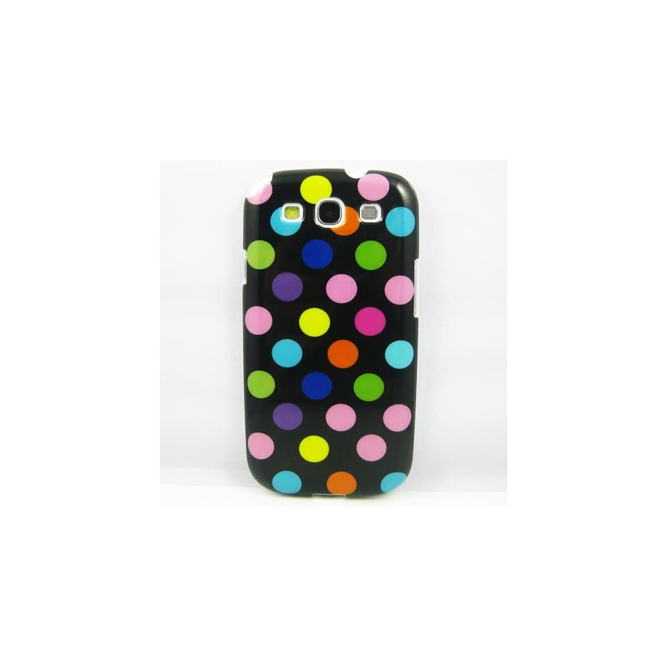 2013 New Black With Colorful Glossy Polka Dots TPU Case Phone Cover Case For Samsung Galaxy 3 i9300