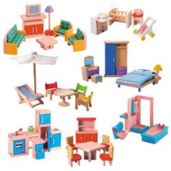 wooden doll house furniture amazoncom wooden doll house furniture group dollhouse
