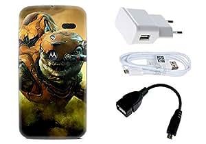 Spygen Motorola Moto X (1st Gen) Case Combo of Premium Quality Designer Printed 3D Lightweight Slim Matte Finish Hard Case Back Cover + Charger Adapter + High Speed Data Cable + Premium Quality OTG