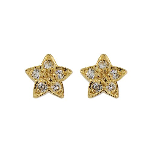 14k Yellow Gold, Star Stud Earring Screw Back Lab Created Gems