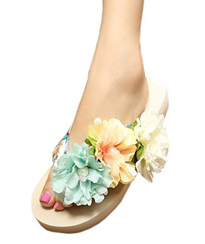 Zeagoo Women Summer Bohemia Slippers Beach Shoes Flowers Flip Sandals