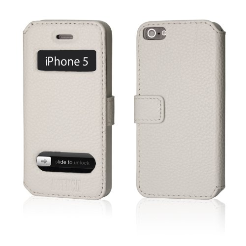 Great Price EC TECHNOLOGY® Genuine Handmade White Color Leather Magnetic Flip Case Cover Protector Skin For iPhone 5 IOS 6
