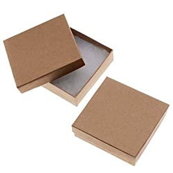 Kraft Brown Square Cardboard Jewelry Boxes 3.5 x 3.5 x 1 Inches (16) from Beadaholique