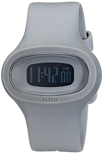 Alessi AL25005 - Reloj digital unisex, correa de plástico color gris