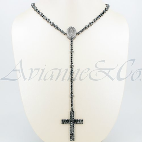 10K Gold Black Rhodium Plated Mens Diamond Rosary