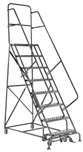 Louisville Ladder GSW2409 Rolling Warehouse Ladder with 24-Inch Step Width and Handrails, 90-Inch Platform Height, 9-Step