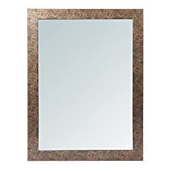 999Store fiber framed decorative wall mirror or bathroom mirror brown (24x18 Inches)