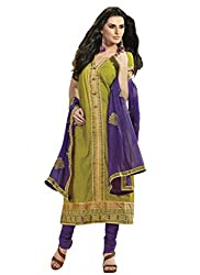 Nirali Women's Cotton Salwar Kameez Unstitched Dress Material - Free Size (Green)