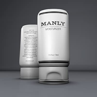 Manly Moisturizer for Men Face Care Containing Green Tea, Aloe, Pink Grapefruit Oil, Vitamin C & E Oil-free, Non-greasy, Great for Sensitive or Dry Skin Best Skin Care Treatment Lotion / Skin Cream Great Stocking Stuffer for Dad & Men