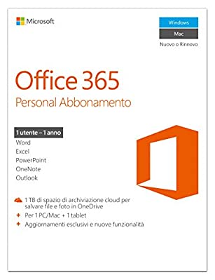 MICROSOFT OFF365PERSONALITSUBS1YRMEDIALESSP2 QQ2-00587 Off 365 Personal Italian Subscr 1YR Medialess P2