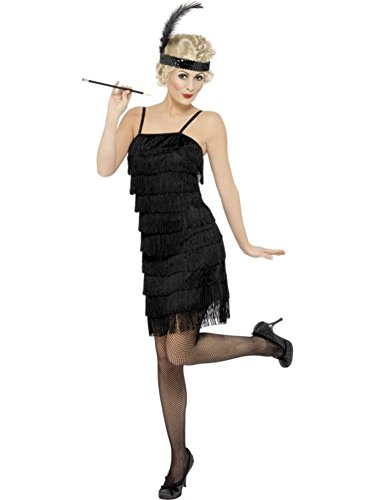 Smiffys Women's Black Fringe Flapper Costume -US Dress 6-8