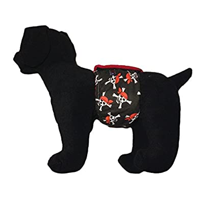 Barkerwear Male Dog Diaper - Crossbones Pirate Washable Belly Band Male Wrap for Housebreaking, Male Marking and Incontinence