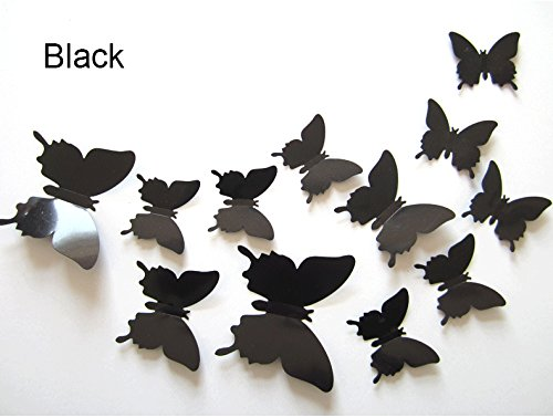Blogger 3D Butterfly Wall Sticker Three-dimensional 12 Pcs Wall Decal Home Decoration Removable Sticker Mural DIY Decor as Mirror(12pcs\Black)