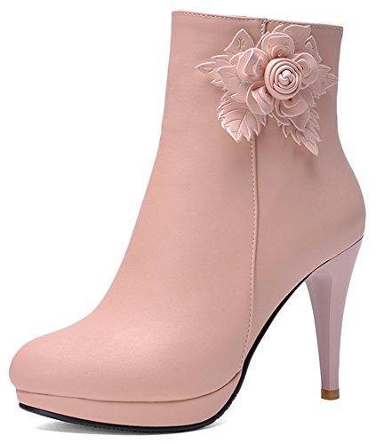Summerwhisper Women's Elegant Flower Round Toe Size Zipper Booties Stiletto High Heels Platform Ankle Boots