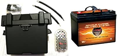 "Trolling Motor Battery Kit: VMAX857 12V AGM 35Ah Battery, U1 Box, 9"" Cables, Circuit Breaker. Marine Grade AGM 35Ah Battery Kit ideal for boats and 18-35lb, MinnKota, cobra, sevylor and other trolling motors."