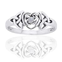 June Birthstone Ring - Sterling Silver Mother of Pearl Celtic Trinity Knot Heart(Sizes 4,5,6,7,8,9,10)
