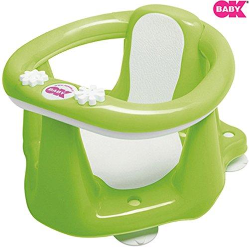Ok Baby Flipper Evolution poltroncina per bagnetto con seduta antiscivolo per vasca da bagno con ventose (Verde) B10