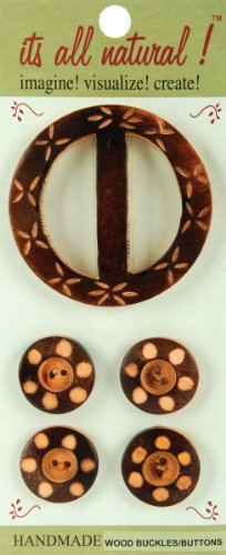 Vision Trims Handmade Wood Buckle/Buttons 5 Pieces/Pkg-Carved Circles